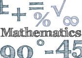 hand drawn effect lettering spelling mathematics surrounded by various math related symbols