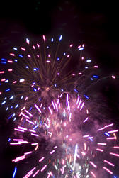 a display of pink / purple fireworks perhaps suitable to illustrate a valentine design